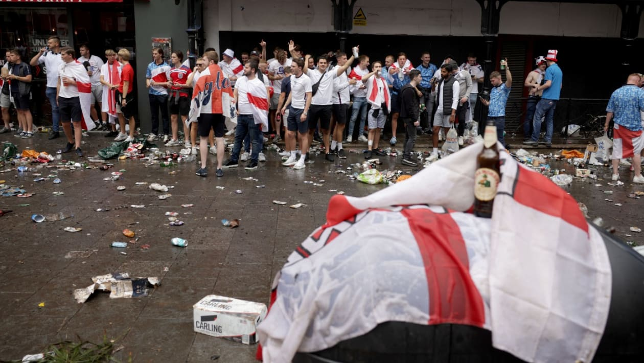 England fans Leicester Square Euro 2020 final GettyImages-1233922728